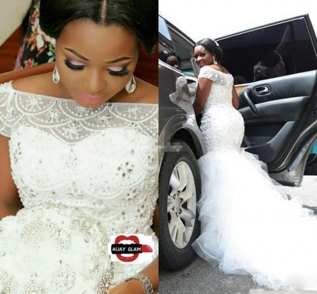 wedding photo - 2019 Hot African Nigeria Mermaid Wedding Dresses Off Shoulder Crystal Beaded Tiered Ruffles Court Train Custom Plus Size Formal Bridal Gowns Wedding Dress Wholesale Wedding Dresses For 2015 From Brandshoes_sale01, $141.76