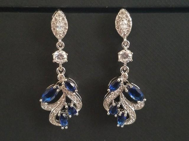 wedding photo - Bridal Sapphire Earrings, Navy Blue Silver Cluster Earrings, Wedding Floral Cubic Zirconia Earrings, Bridal Dangle Earrings, Bridal Jewelry