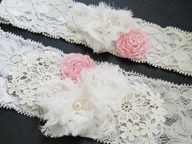 wedding photo - Bridal Garter Set, Wedding Lace Garter Set, Keepsake Garters, White Blush Pink Lace Garter, Shabby Flower Lace Garter, Rustic Garter Set