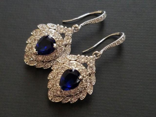 wedding photo - Navy Blue Silver Bridal Earrings, Wedding Cubic Zirconia Earrings, Navy Blue Sapphire Earrings, Sapphire Dangle Earrings Bridal Blue Jewelry