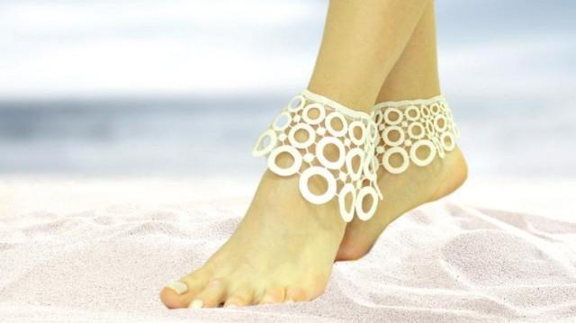 wedding photo - White lace beach wedding barefoot sandals, circle bangle, oriental wedding anklet, summer wedding nude shoes, boho sandal, cuff