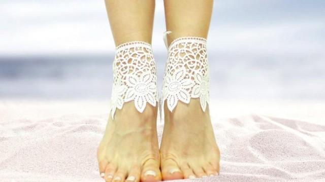 wedding photo - White lace barefoot sandals, beach wedding sandals, guipure bangle, wedding anklet, nude shoes, boho sandal, cuff, desert wedding