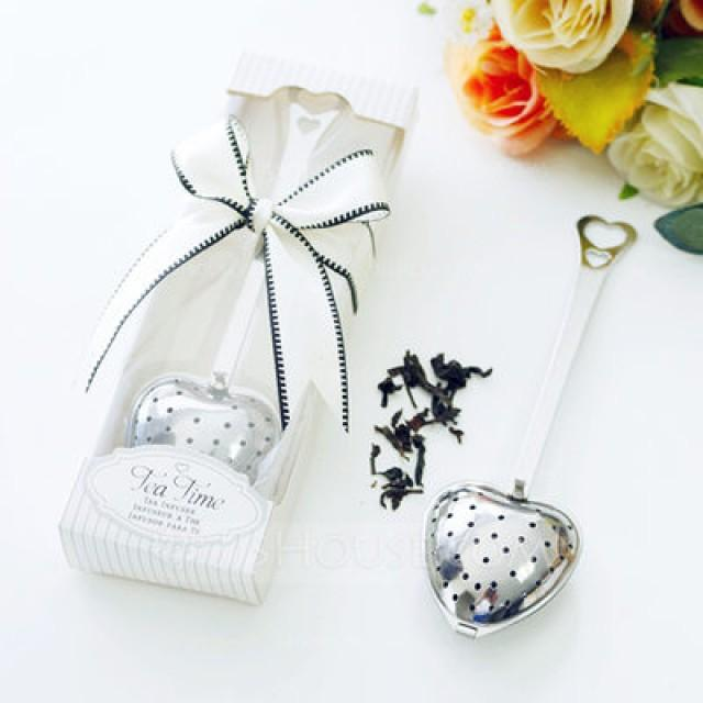 "wedding photo - BeterWedding  ""Love Story""/""Tea Time"" Heart Shaped Metal Tea Party Favors With Ribbons"