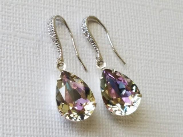 wedding photo - Swarovski Vitrail Light Crystal Earrings, Wedding Teardrop Earrings, Light Rainbow Earrings, Light Purple Silver Earrings, Bridal Jewelry