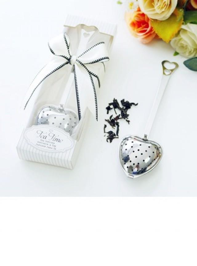 "wedding photo - BeterWedding ""Tea Time"" Heart Shaped Metal Tea Party Favors/Tea Infuser With Unique Ribbons"