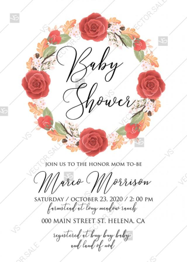 wedding photo - Baby shower invitation peony wreath autumn fall leaves online customization