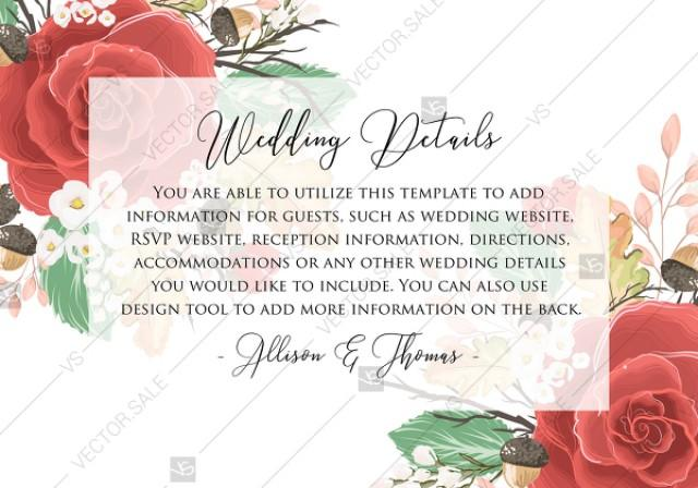 wedding photo - Wedding Detail card custom template red rose autumn fall leaves custom invitation