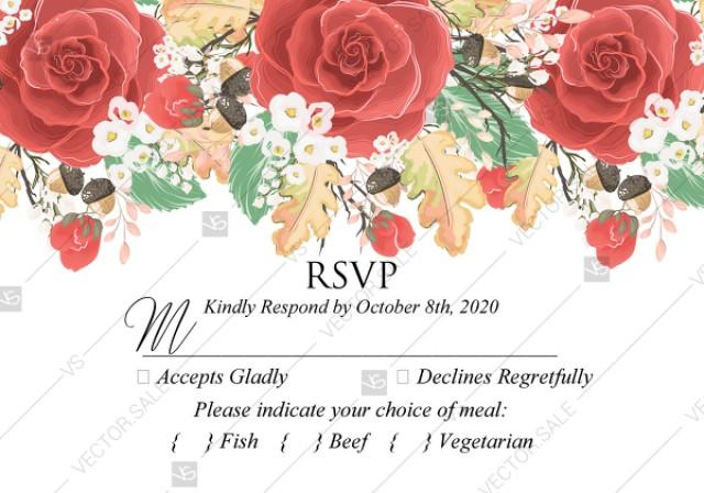 wedding photo - RSVP card custom template red rose autumn fall leaves pdf bridal shower invitation