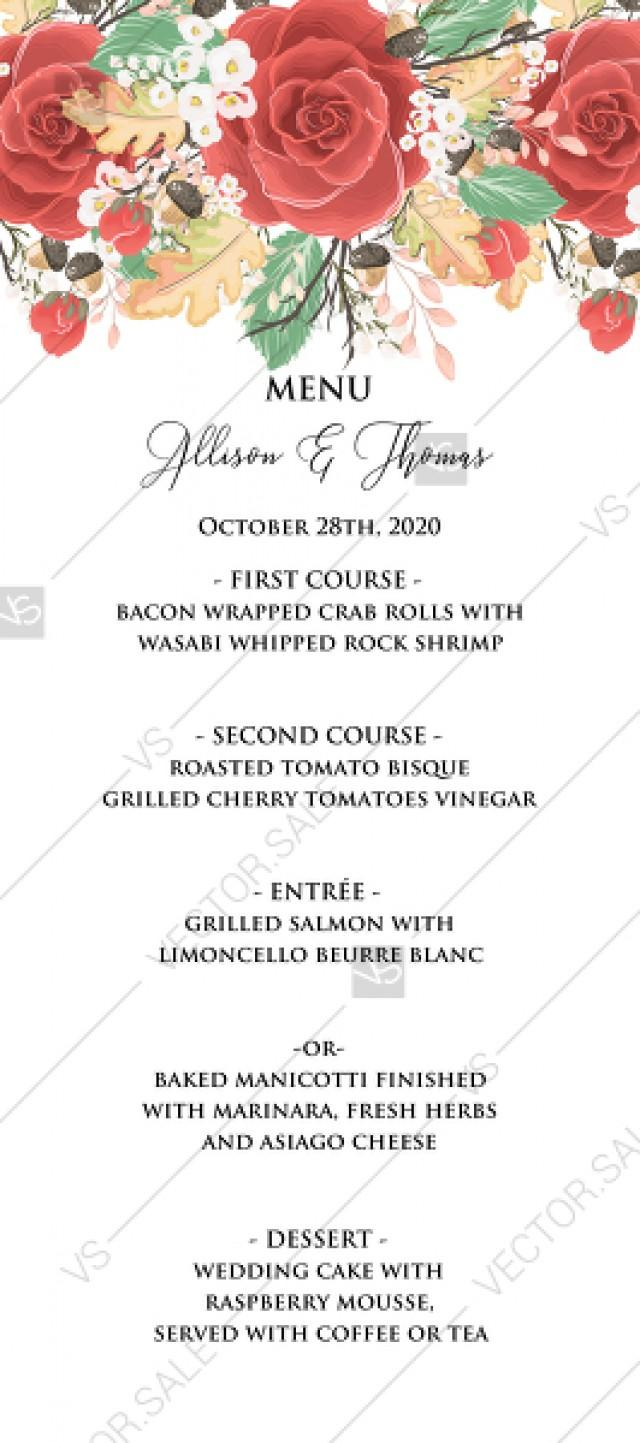 wedding photo - Menu card custom template red rose autumn fall leaves pdf