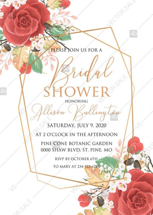 wedding photo - Red rose Bridal shower invitation spring pink flower greenery pdf custom