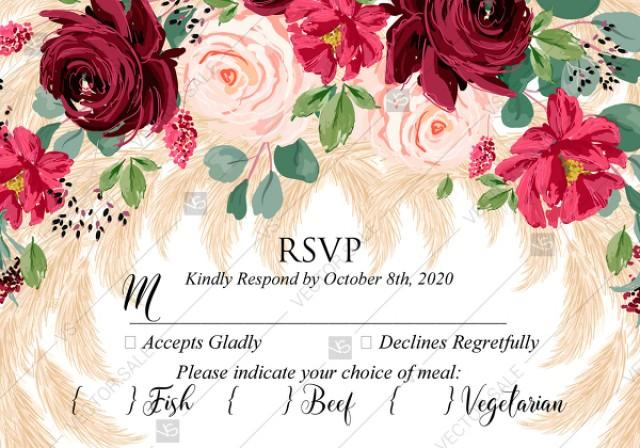 wedding photo - RSVP Marsala peony rose pampas grass pdf custom online editor