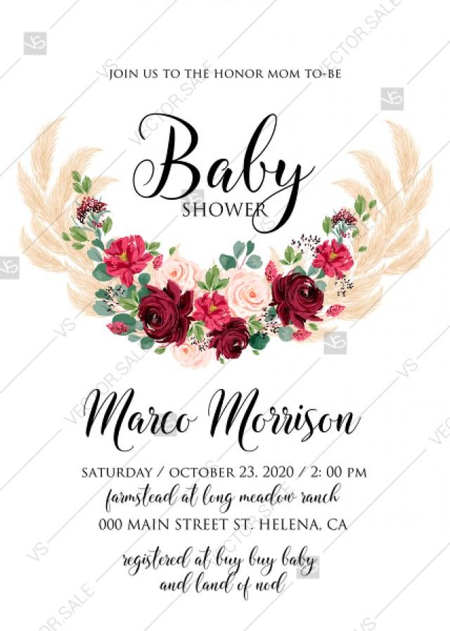 wedding photo - Baby shower invitation Marsala peony rose pampas grass pdf custom online editor