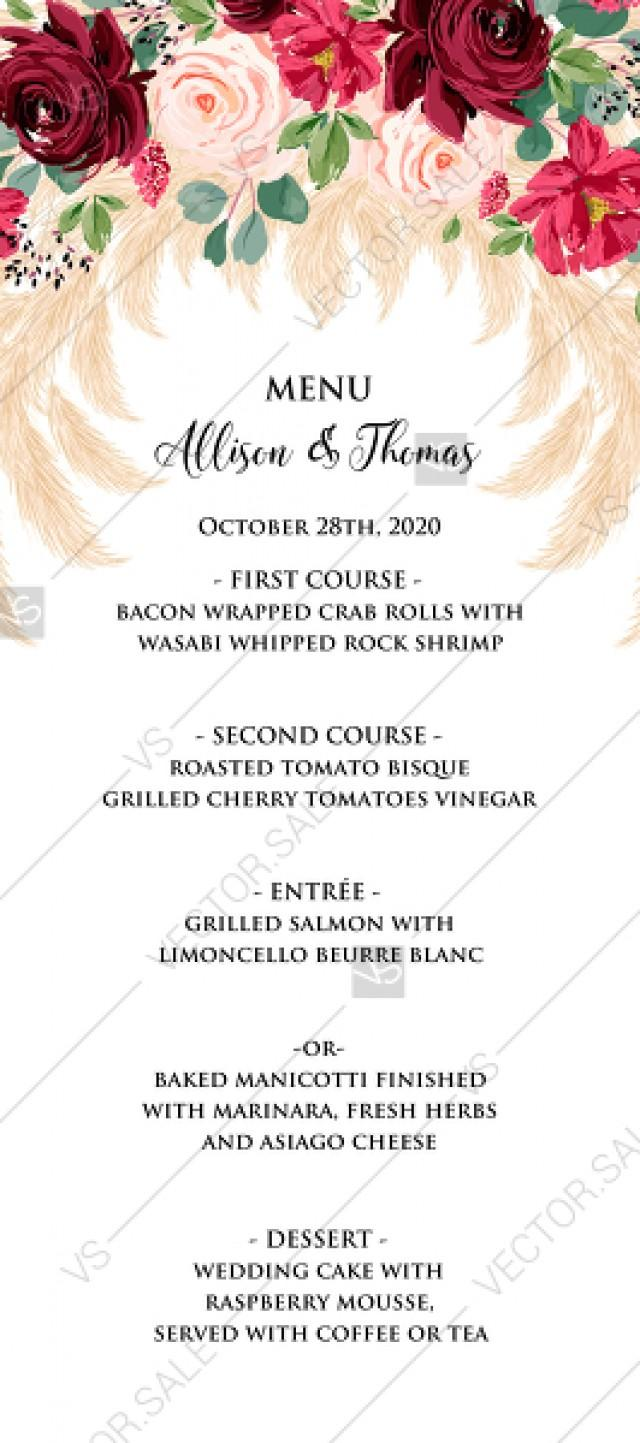 wedding photo - Menu Marsala peony rose pampas grass pdf custom online editor