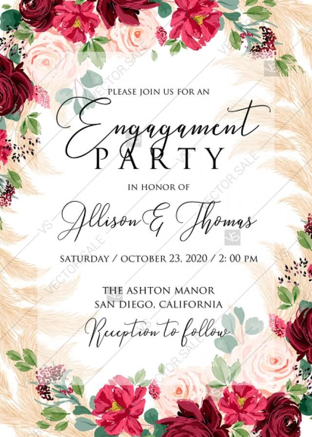 wedding photo - Engagement party invitation Marsala peony rose pampas grass pdf custom online editor