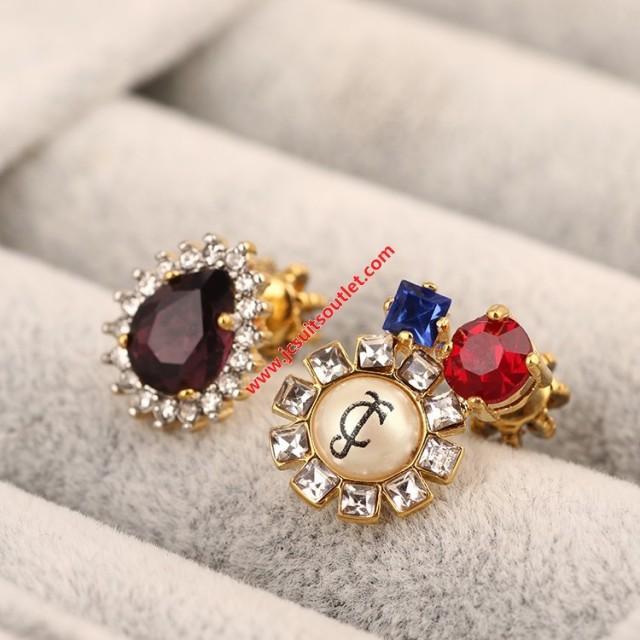 wedding photo - Juicy Couture Gold-Tone Diamond Beads Amethyst Asymmetry Earrings