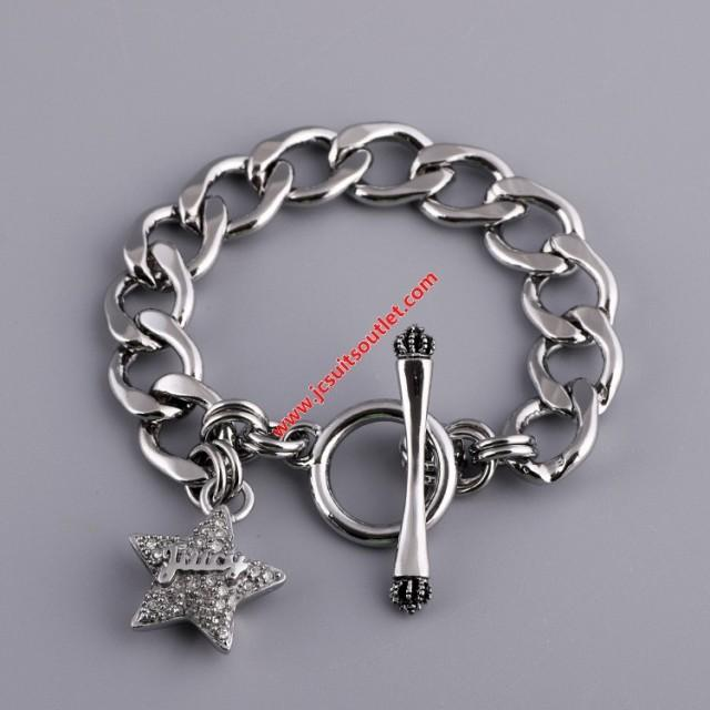 wedding photo - Juicy Couture Silver-Tone Pave Star Charm Toggle Bracelet