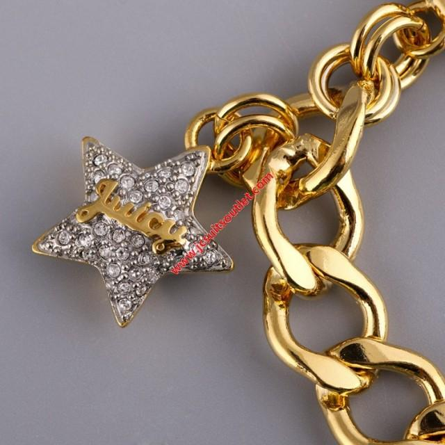 wedding photo - Juicy Couture Gold-Tone Pave Star Charm Toggle Bracelet