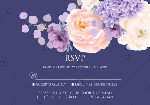 wedding photo - RSVP card pink peach peony hydrangea violet anemone eucalyptus greenery pdf custom online editor anniversary invitation