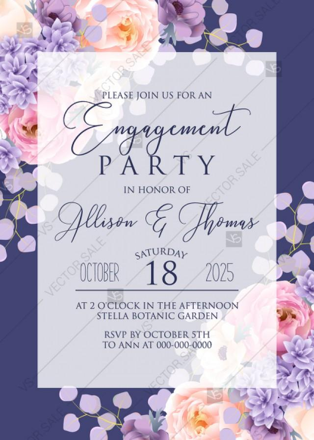 wedding photo - Engagement part invitation pink peach peony hydrangea violet anemone eucalyptus greenery pdf custom online editor thank you card
