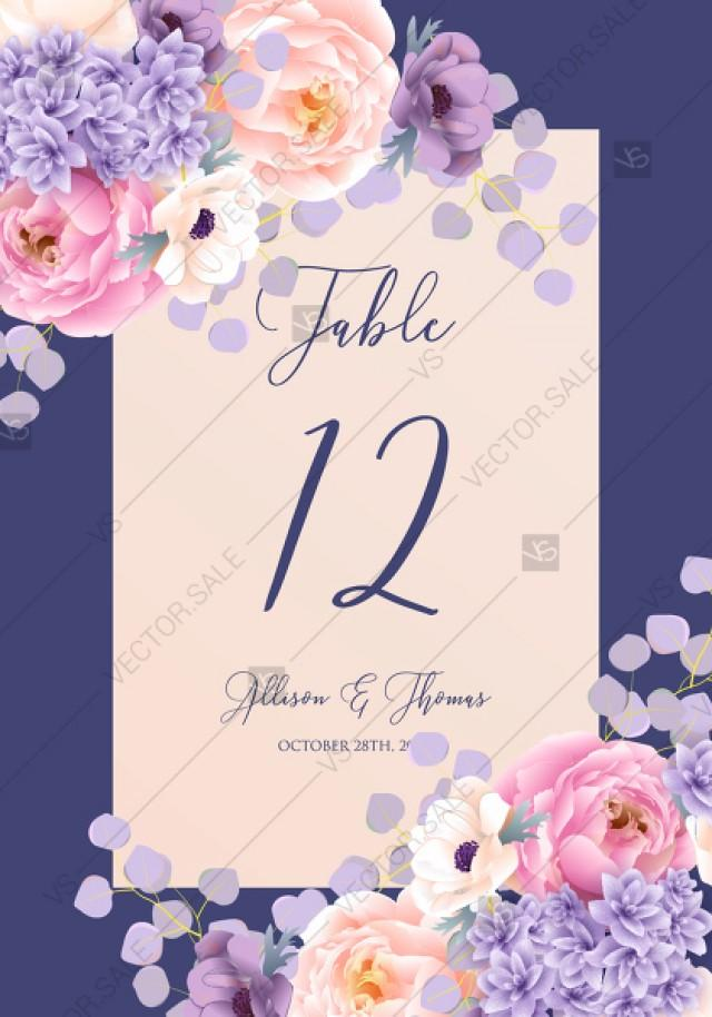 wedding photo - Table place card pink peach peony hydrangea violet anemone eucalyptus greenery pdf custom online editor bridal shower invitation