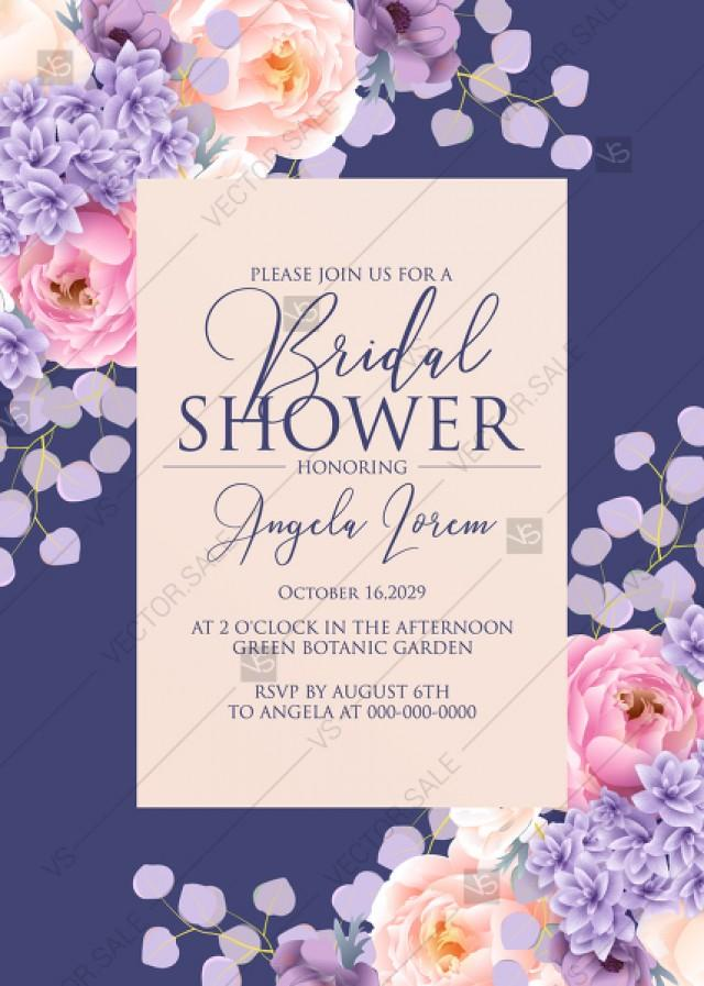 wedding photo - Bridal shower invitation pink peach peony hydrangea violet anemone eucalyptus greenery pdf custom online editor