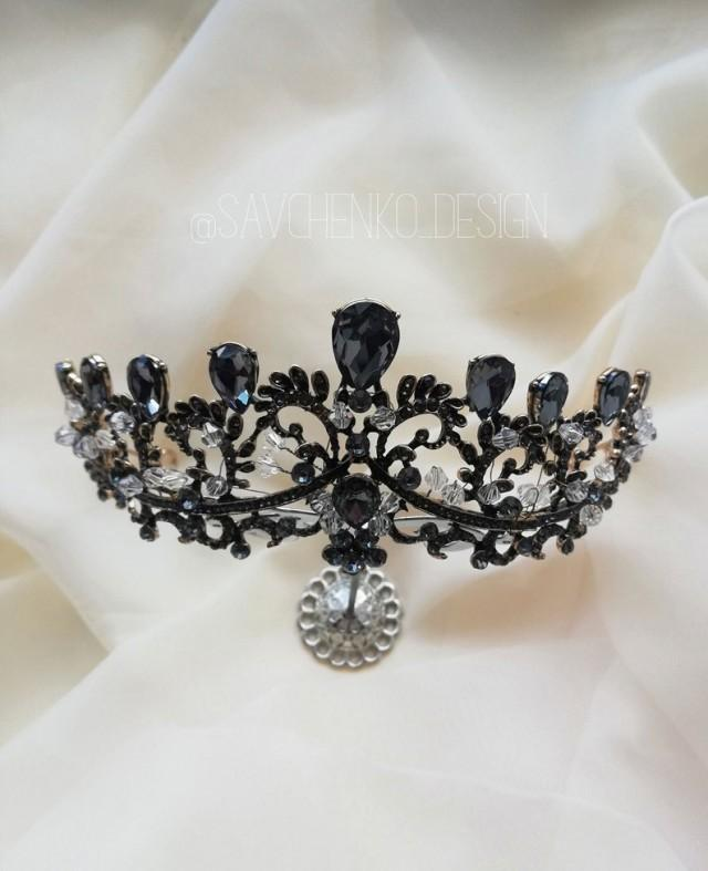 wedding photo - baroque headband Crown Bronze baroque tiara queen crown metal boho jewelry gold gothic hair clips evil queen crown noir black crown