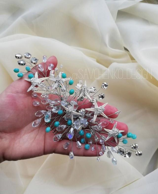 wedding photo - Beach wedding hair accessories Tiffany Bridesmaids gifts Aqua Blue Starfish Hair clip Mermaid crown Starfish crown seashell hair accessories