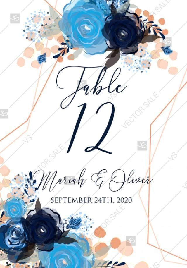 wedding photo - Table number place card royal navy blue rose peony indigo watercolor pdf online editor 3.5''*5''