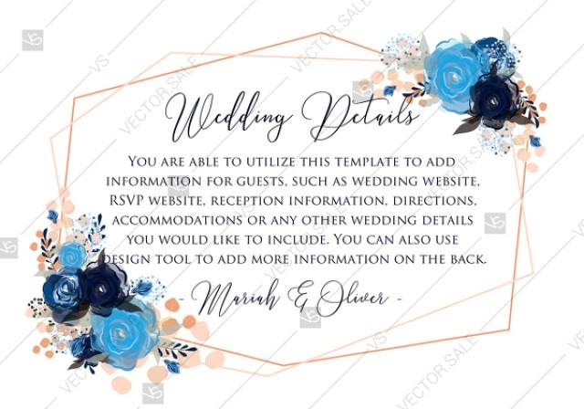 wedding photo - Wedding details card royal navy blue rose peony indigo watercolor pdf online editor 5*3.5''