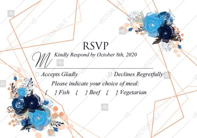 wedding photo - RSVP royal navy blue rose peony indigo watercolor pdf online editor 5*3.5''