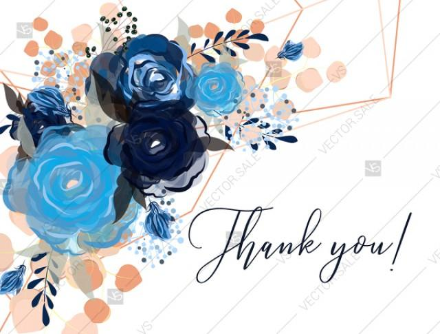 wedding photo - Thank you card royal navy blue rose peony indigo watercolor pdf custom online editor 5.6*4.25''