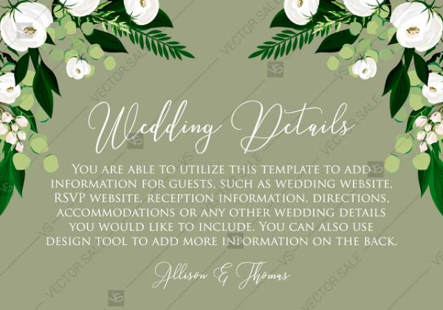 wedding photo - Wedding Details card greenery herbal grass white peony watercolor pdf custom online editor 5*3.5''