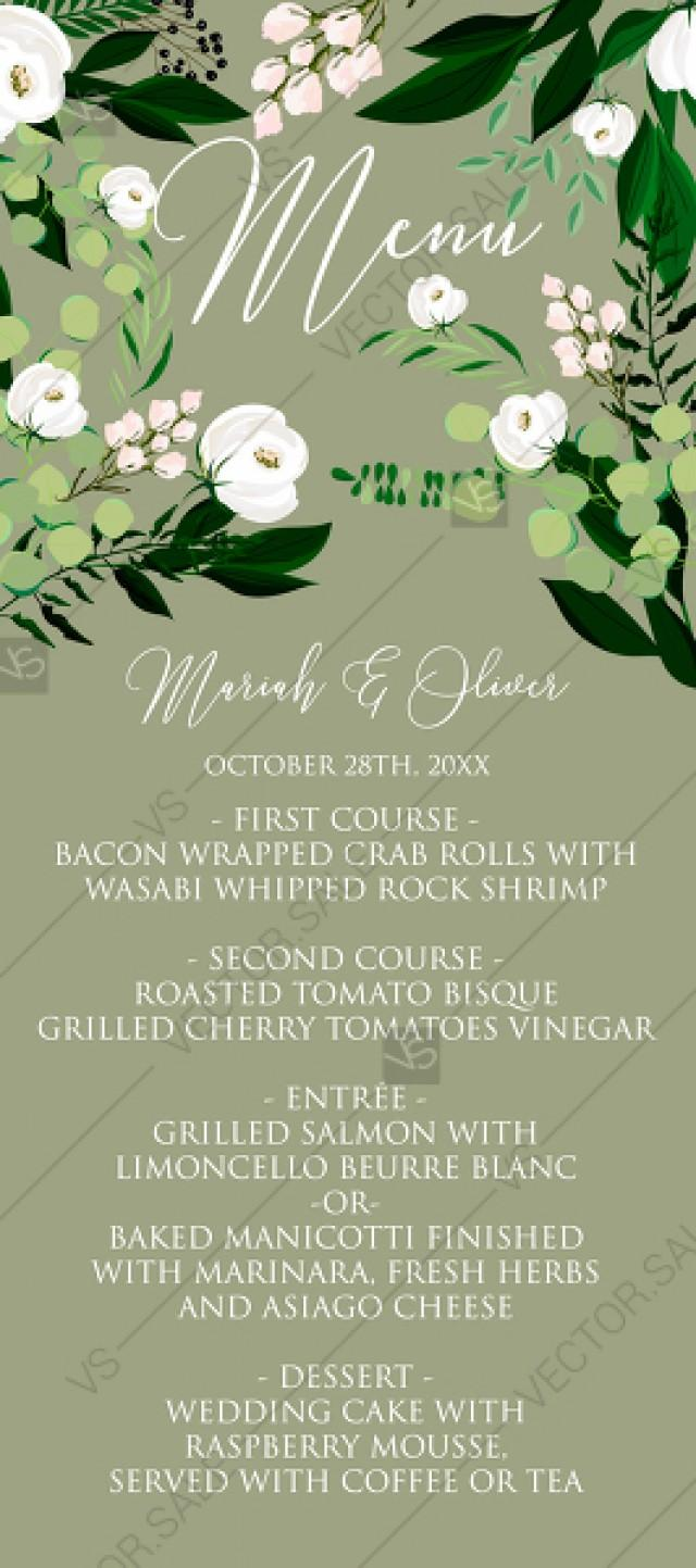 wedding photo - Menu card template greenery herbal grass white peony watercolor pdf custom online editor 4''*9''