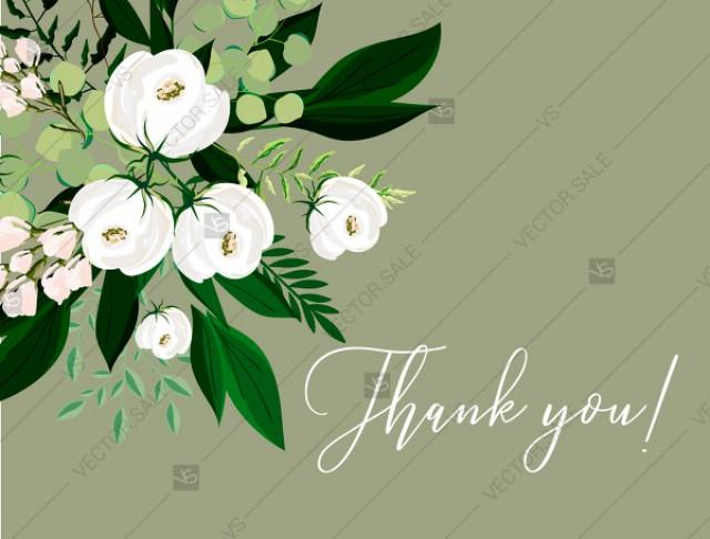 wedding photo - Thank you card greenery herbal grass white peony watercolor pdf custom online editor 5.6*4.25''