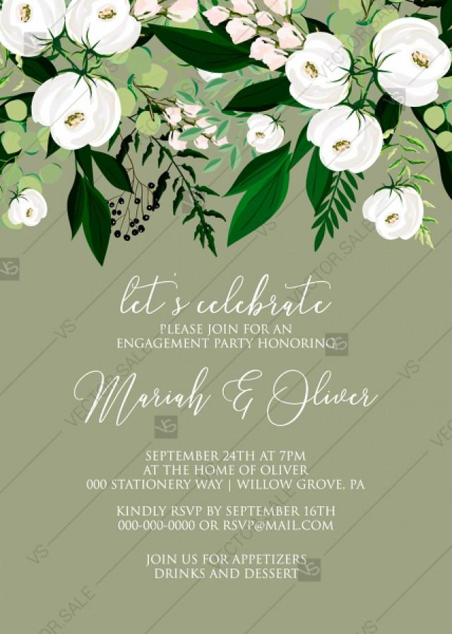 wedding photo - Engagement party invitation greenery herbal grass white peony watercolor pdf custom online editor 5''*7''