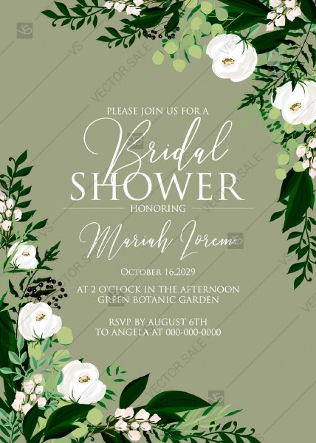 wedding photo - Bridal shower invitation greenery herbal grass white peony watercolor pdf custom online editor 5''*7''
