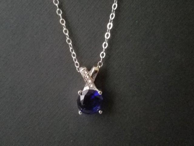 wedding photo - Navy Blue Silver Necklace, Dark Blue Crystal Bridal Necklace, Wedding Blue Cubic Zirconia Necklace, Navy Blue Small Pendant, Bridal Jewelry