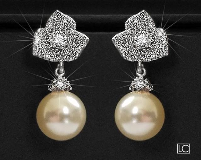 wedding photo - Pearl Bridal Earrings, Trillium Flower Silver Earrings, Swarovski 10mm Pearl Earrings, Ivory Pearl Floral Stud Earrings, Wedding Earrings