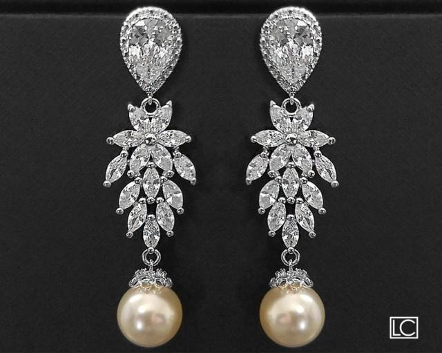 wedding photo - Wedding Pearl Chandelier Earrings, Cluster Bridal Earrings, Swarovski Ivory Pear Earrings, Leaf Crystal Earrings, Cubic Zirconia Jewelry