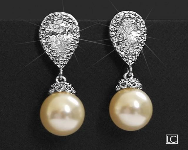 wedding photo - Pearl Bridal Earrings, Swarovski 10mm Ivory Pearl CZ Earrings, Wedding Pearl Earrings, Pearl Drop Earrings, Bridal Jewelry, Wedding Jewelry