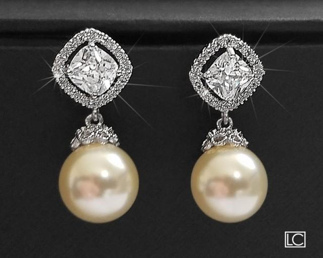 wedding photo - Bridal Pearl Earrings Ivory Drop Pearl CZ Wedding Earrings Swarovski 10mm Pearl Earrings Wedding Pearl Jewelry Bridal Jewelry Pearl Earring