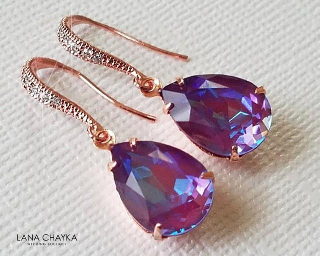wedding photo - Swarovski Burgundy DeLite Rose Gold Earrings, Purple Turquoise Teardrop Earrings, Wedding Crystal Dangle Earrings, Bridesmaid Purple Jewelry