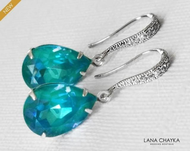 wedding photo - Teal Silver Teardrop Earrings, Swarovski Laguna DeLite Earrings, Blue Green Earrings, Bridesmaids Earrings, Ocean Mermaid Wedding Jewelry