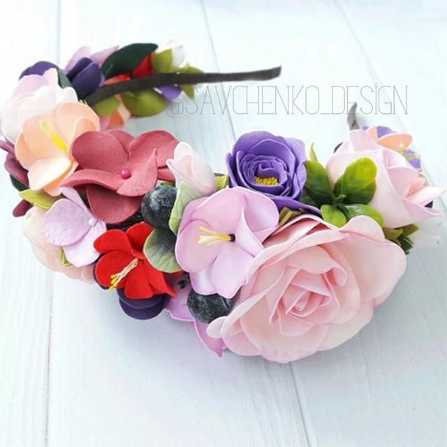 wedding photo - Flower girl crown Blush boho Birthday headband girl Bridal hair accessories