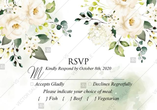 wedding photo - RSVP card white rose peony greenery watercolor wedding invitation free custom online editor 5*3.5''