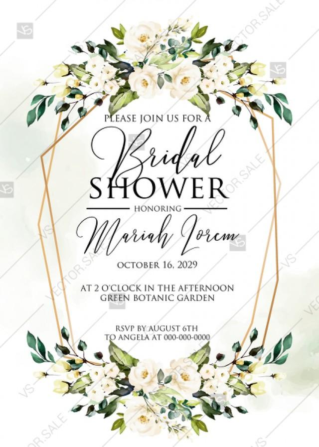 wedding photo - White rose peony greenery watercolor bridal shower invitation free custom online editor 5''*7''