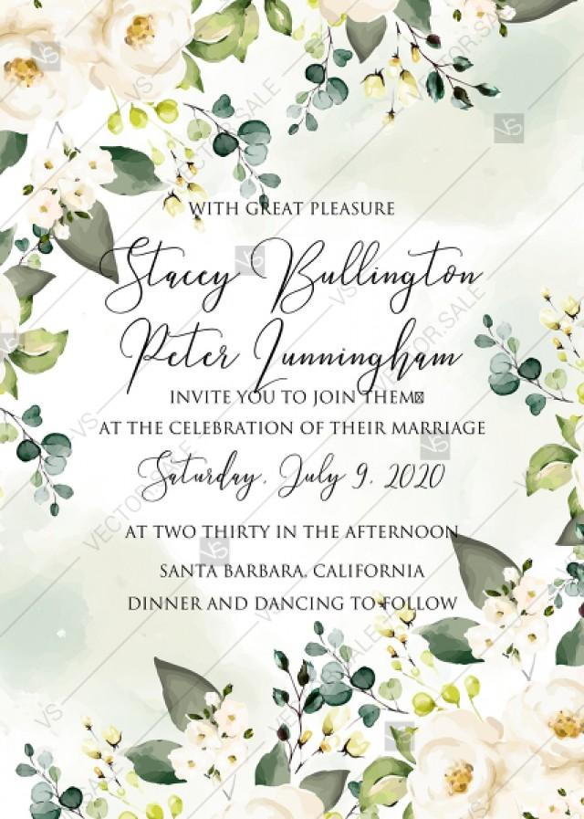 wedding photo - White rose peony greenery watercolor wedding invitation free custom online editor 5''*7''