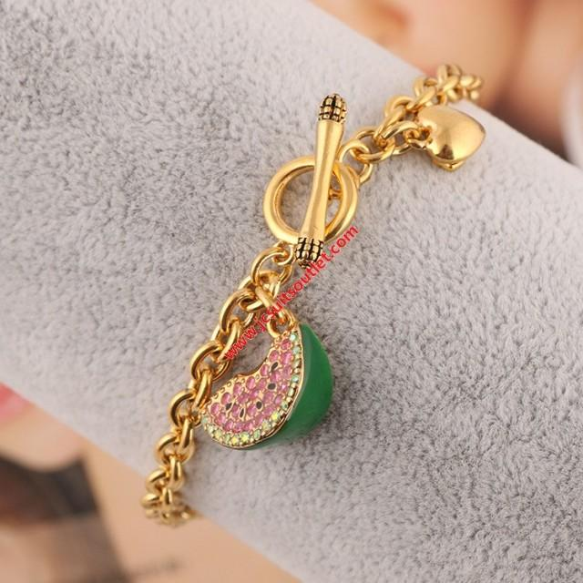 wedding photo - Juicy Couture Gold-Tone Diamond Enamel Glaze Watermelon Charm Toggle Bracelet