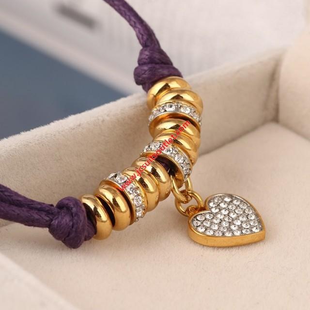 wedding photo - Juicy Couture Purple Pave Flat Heart Charm Hook Bracelet
