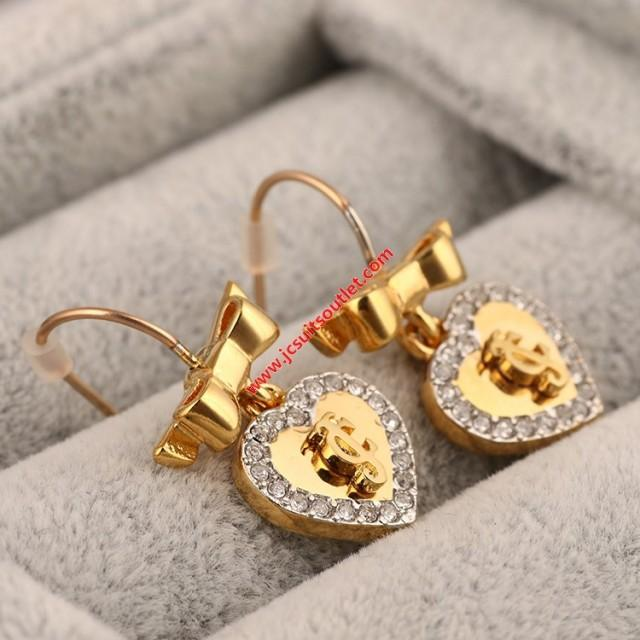 wedding photo - Juicy Couture Gold-Tone Diamond Heart Pendant Earrings